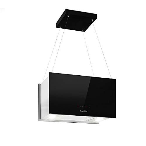 Klarstein Kronleuchter - Dunstabzugshaube Deckenhaube Inselabzugshaube, EEK: A, Umluftbetrieb in 3 Stufen, SenseControl: Touch, 58 dB Geräuscharm,60 cm, schwarz