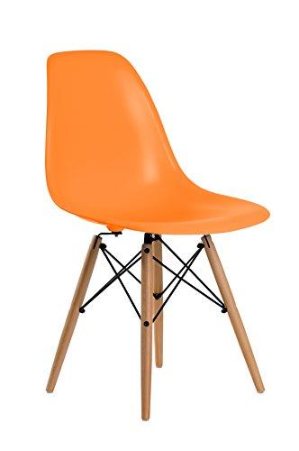Aryana Home Silla Replica Eames, Acero, Naranja, Alto: 81,5 cm. Ancho: 46,5 cm. Fondo: 51,5 cm. Alto Asiento: 45 cm