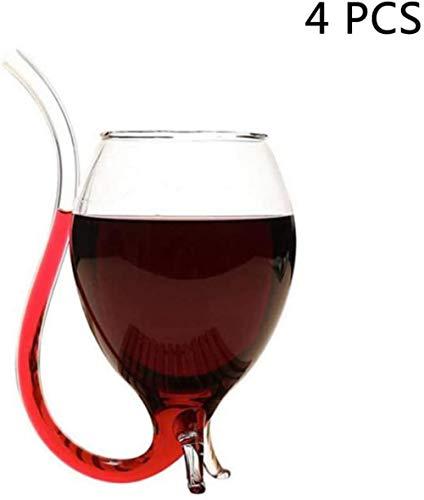 Creative stro rode wijn glas vruchtensap drinkt bier mokken gepersonaliseerde wijnglas handgemaakte hittebestendig glas (300 ml), 4PCS