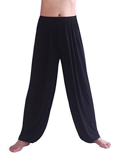 Hoerev Hommes Super Soft Modal Spandex Harem Yoga / Pilates Pantalons, Noir, L