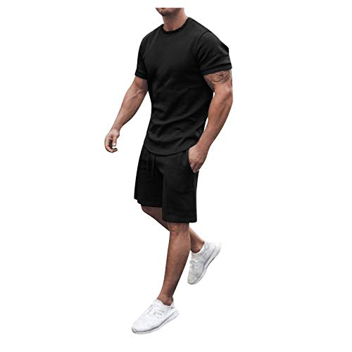 Herren Sport Outfit Set Sommer Lässig Ärmellose Slim Fit T-Shirt Tops + Short Jogginganzug Sportanzug Track Kurze Hosen Kleidung Set für Training Workout Fitness Jogger Jersey Fußball Set New