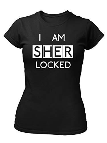 clothinx I Am Sherlocked Consulting Detective | Insider Design - Für Hobby-Detektive und alle Fans von Krimi-Serien | Kult Fanartikel zum Binge-Watching Damen T-Shirt Fit Schwarz Gr. M