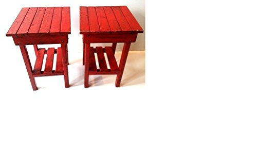Distressed Night Stand Set /red Distressed End Table Set /Bed Side Tables/Rustic Table/Farmhouse Side Table/Vintage/Wooden Table