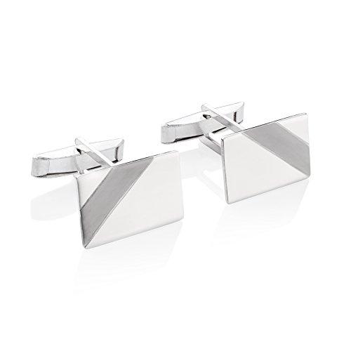 STERLL Herren Manschettenknöpfe Cufflinks Sterling-Silber 925 Glänzend mit Oxidiertem Streifen Schmucketui Kleine Geschenke