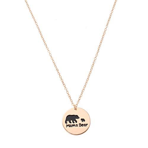 Colares de Dia das Mães da Amosfun Colar de urso com pingente de prata esterlina (ouro)