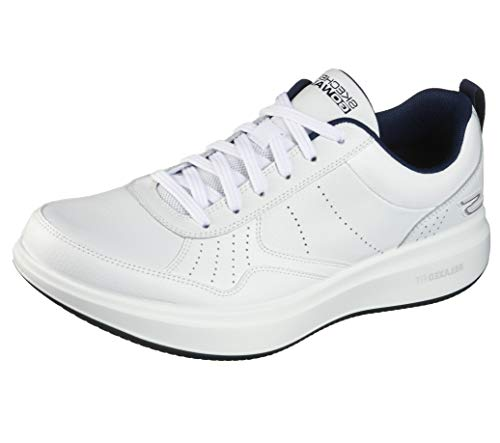 Skechers Men's Gowalk Steady-Relaxed Fit Full Leather Lace-Up Performance Walking Shoe Sneaker, White/Navy, 8.5