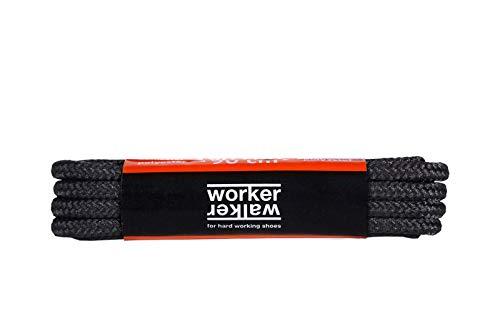 Runde Schnürsenkel für Arbeitsschuhe, Gesundheitsschuhe und Sicherheitsschuhe - robustes Gewebe, von Worker Walker Laces Pro, 1 Paar (91 - schwarz / 180 cm - 71 zoll)