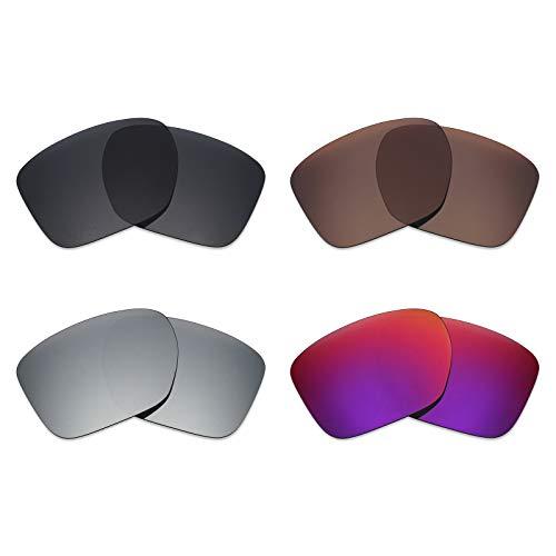 Mryok Lot de 4 paires de verres polarisés de rechange pour lunettes de soleil Oakley Sliver XL – Noir/bronze/argent titane/Midnight Sun