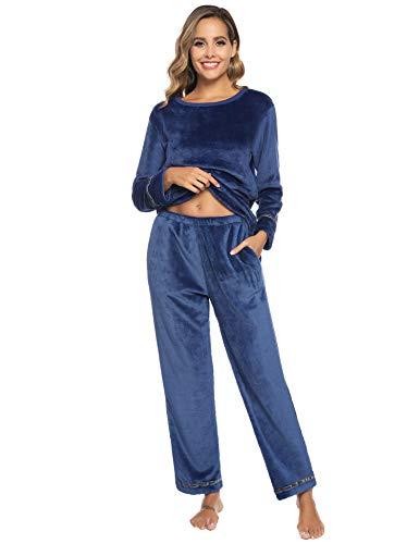 Aibrou Damen Winter Flanell Pyjama Set lang Fleece gefüttert, Einfarbige Zweiteiliger Schlafanzug Rundhals Langarm Shirt und Pyjamahose Marineblau XL
