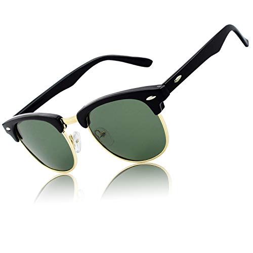 CGID Inspired Half Frame Horn Rimmed Polarized Sunglasses for Men and Women with Metal Rivets,Glossy Black-Green