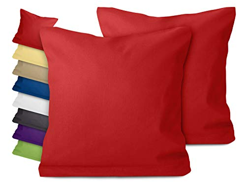 npluseins Doppelpack zum Sparpreis - Baumwoll-Kissenbezüge - Moderne Wohndekoration in schlichtem Design - 8 modernen Uni-Farben und 3 Größen, 40 x 40 cm, rot