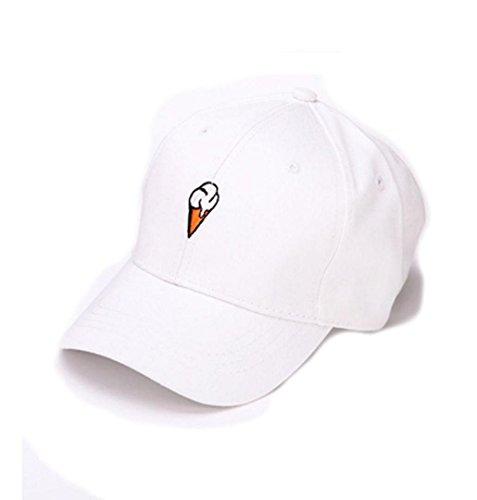 ZEZKT-Zubehör❤️ Unisex Baseball Cap Eis Weiß Rosa Hut Sonnenschirm Mützen Größe Frühling und Sommer Sport Baseballmütze Mode Ente Zunge Sonnenhaube Unisex Hut (Weiß)