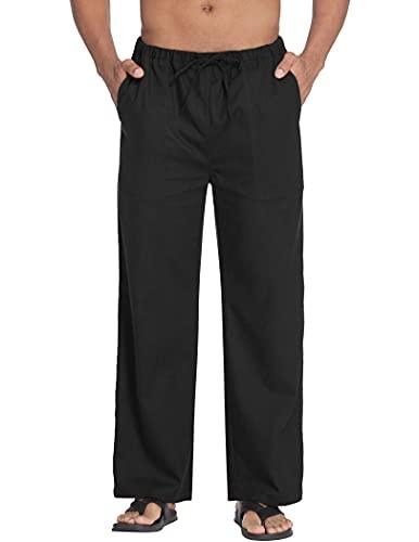 COOFANDY Mens Linen Cotton Pants Loose Casual Lightweight Elastic Waist Pants