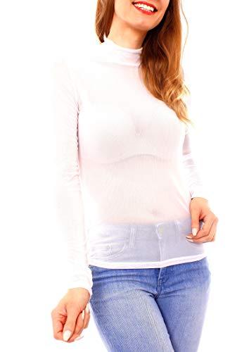 Easy Young Fashion Damen Mesh Langarmshirt Transparent mit Stehkragen One Size Weiß