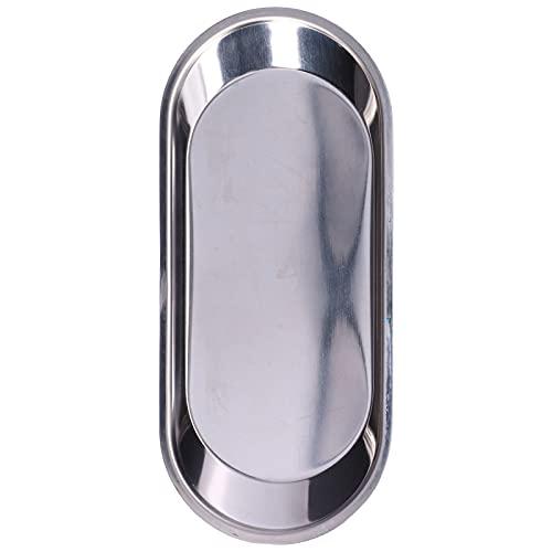 JYLSYMJa Bandeja de Almacenamiento de cosméticos, Bandeja de Acero Inoxidable Engrosada, Bandeja de Servicio Ovalada para Almacenamiento y organización de Espacios de mostrador más pequeños(Large)