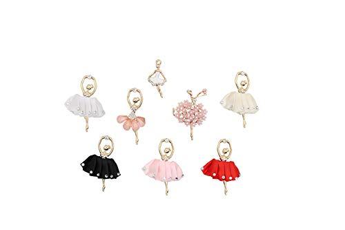 8 abalorios de aleación para niña de ballet mezclados con diamantes lisos de metal, accesorios para manualidades, collares, pulseras, bisutería, ballet.