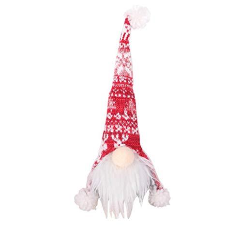 Wancooy Botella de Vino Decoración de Navidad Hermosa Cubierta Creativa Sin Cara Material de Punto de Vino Tinto Botella de Regalo Embalaje de Santa Claus Botella de Vino (Blanco)