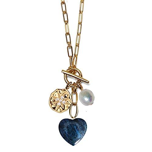 yuge Colgante de moneda Perla Verde Rosa Color Mezclado Corazón Colgante Rectangular Cadena Collar 3