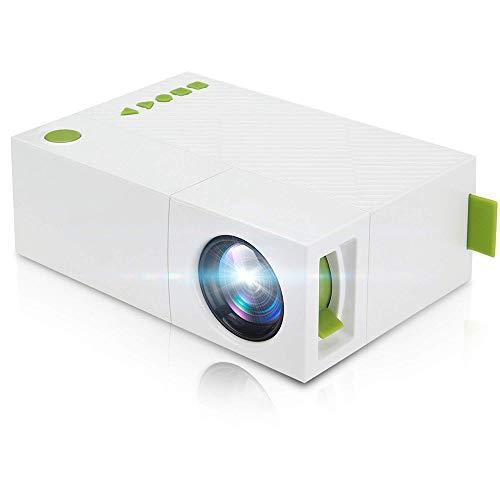 Casa Micro proyector, LED Home Cine portátil Full HD 1080p, proyector de Bolsillo de Entrada para el vídeo Juego película proyector de Entretenimiento de electrodoméstico niños (Color Blanco)