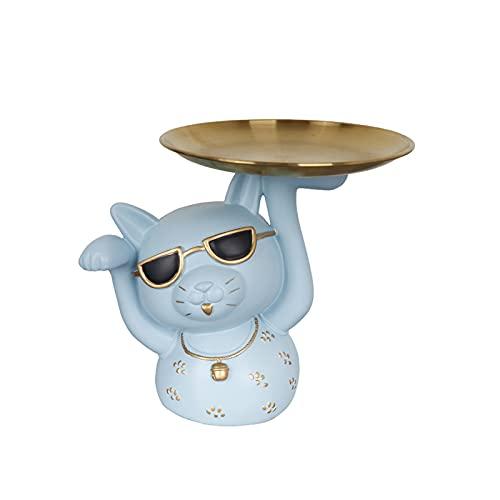 KLFD Adornos Creativos para Bandeja De Almacenamiento para Gatos Soporte para Cuenco De Resina para Llaves Bandeja De Almacenamiento De Joyas Bandeja De Almacenamiento De Escritorio,Light Blue