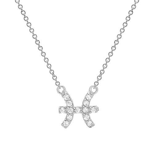 Mini Mini Jewels 14k White Gold Brilliant Diamond Accented Zodiac Pisces Classy Necklace