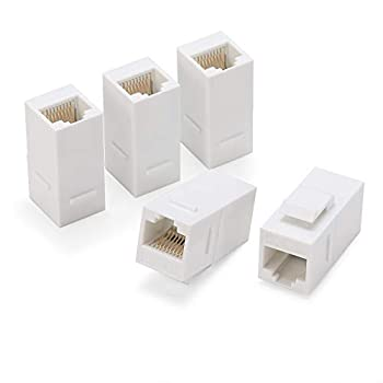 Rapink RJ45 Coupler Inline Adapter Keystone Female to Female Network Connector 5 Pack for Ethernet Cat6/Cat5e/Cat5 Cable Extender with Gold Plated White