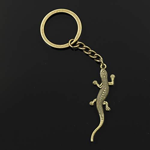 MINTUAN Fashion Key Ring Metal Key Chain Keychain Jewelry Lizard Gecko 56X15Mm Pendant