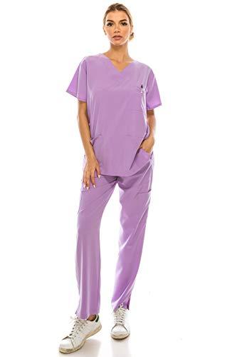 Women's Medical Uniform Scrubs Set – 4 Way Stretch 8 Pocket V-Neck Top with Drawstring Pants Nursing Dental, Lavender Large