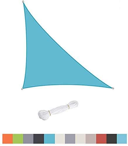 XISENOCI Velo Triangular para Sombra, Piscina Exterior, jardín, Patio, toldo de Tienda de protección Solar 98% Anti-UV Impermeable, Diferentes tamaños, fácil de Limpiar, Azul Claro-2.4X2.4X2.4m