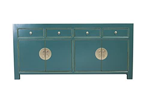 Fine Asianliving Aparador chino verde azulado azul ancho 180 x 40 x 85 cm alto mueble chino oriental, madera asiática 180 x 85 x 40 cm