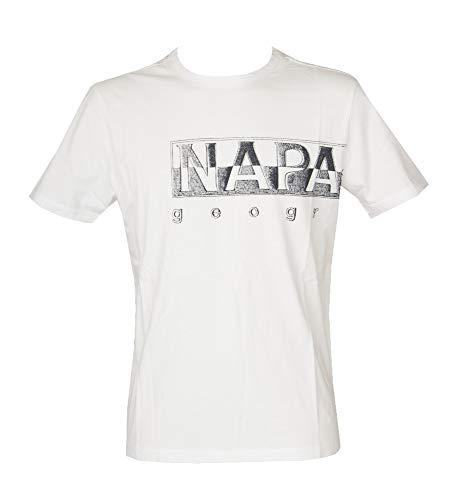 NAPAPIJRI T-Shirt Uomo Manica Corta Maglietta Girocollo Cotone Articolo NP0A4F9N SALLAR Logo, 002 Bianco - Bright White, XL