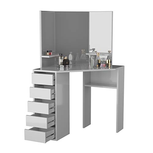 Victoria Corner Makeup Vanity Table White Makeup Vanity with Three-Fold Mirrors and 5 Drawers Bedroom Dressing Table Makeup Table Corner Vanity