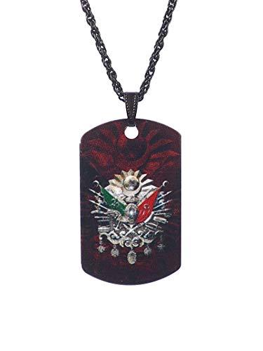 Gök-Türk Halskette Künye für Herren Unisex mit Anhänger Osmanische Tugra Abdul Hamid Abdülhamid II Sultans Stempel Ottoman Türk- schwarz