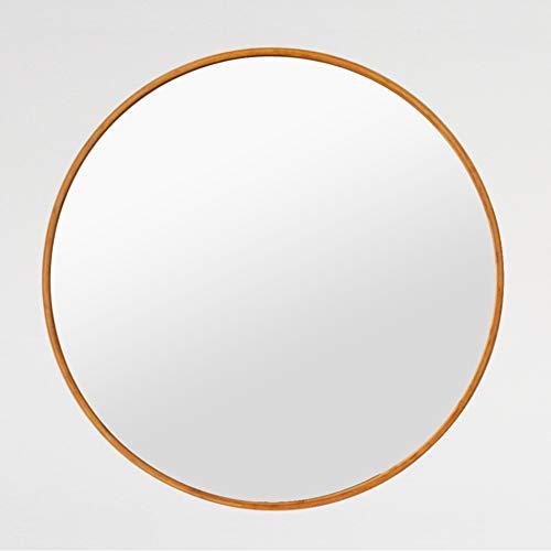 Kingfine Bambus-Spiegel, rund, Wandmontage, für Eingangsbereiche, Badezimmer, Wohnzimmer 27.6 INCH