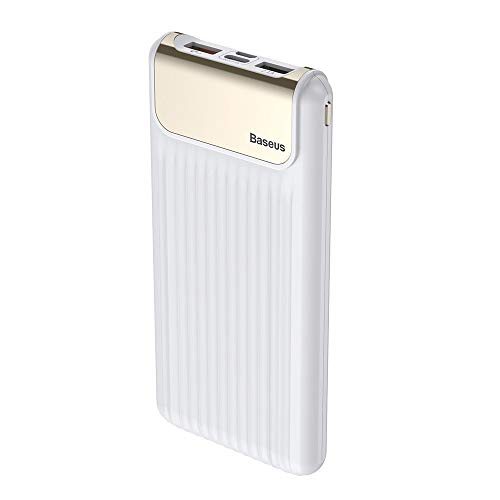 Baseus Thin Digital Powerbank 10000mAh 2 Dual USB-poort acculader dunne platte externe batterij accessoires Micro-USB + USB-type C ingang compatibel met Samsung Galaxy, Huawei, tablet smartphone wit