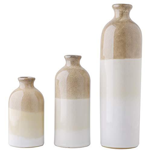 TERESA\'S COLLECTIONS 3 Stücke Keramik Vasen 14/19/30cm Kleine Graue Vasen Kreative Wohnzimmer TV Schrank Deko Esstisch Vintage Dekoration Geschenk
