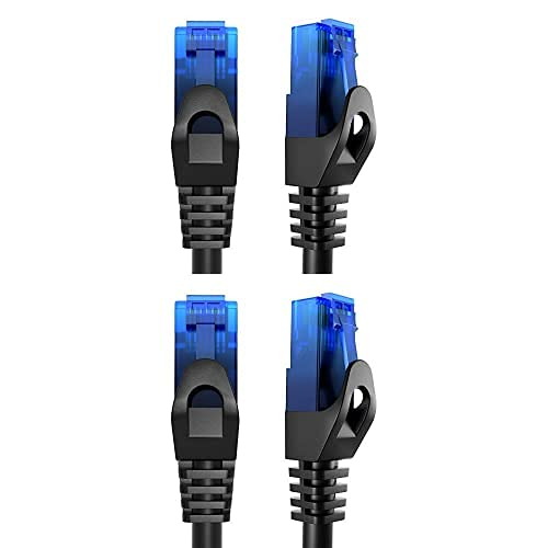 KabelDirekt Bundle, 0.25 m, Cable de red, Ethernet, cable LAN y Patch y cable de red, Ethernet, LAN de 10m (transmite la máxima velocidad de fibra óptica, azul)