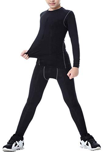 LANBAOSI Boys & Girls Long Sleeve Compression Shirts and Pant 2 PCS Set, Black, 7