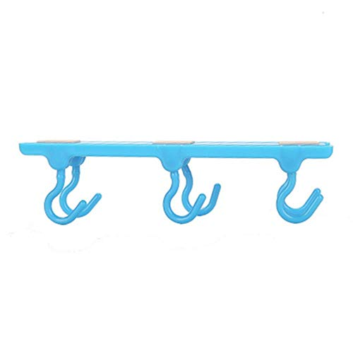 1 st 4 Kleuren Plastic Sterke Sticky Keuken Kast Wandkast Kledingkast Keuken Opslag Naadloos Huis Haken Eén maat Blauw