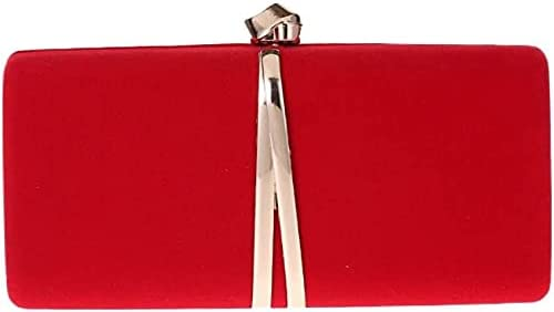 Women's Evening Handbags Women's Small Square Bag Party Bag Dinner Bag Shoulder Messenger Flannel Bag (Color : Red)
