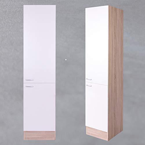 Möbel Akut Vorratsschrank Küche Max hoch Aufbewahrung 50 cm breit Küchenschrank weiß und Eiche Sonoma
