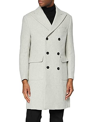 Marca Amazon - find. Wool Mix Double Breasted Smart Abrigo Hombre, Gris (Lt Grey), L, Label: L