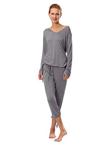 RAIKOU Damen Jersey Zweiteiliger Freizeitanzug Schlafanzug Pyjama Hausanzug TrainingsanzugNachtwäsche-Set aus Viskose (Grau Melange,44/46)
