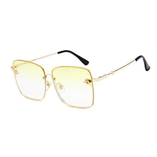 Sunglasses Metall Übergroße Sonnenbrille Frauen Bunte Rahmen Biene Damen Vintage Square Sonnenbrille Retro Pink Sonnenbrille Gafas Gelb