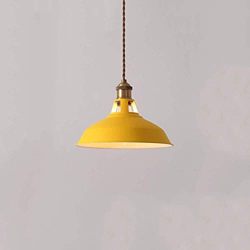 Pendelleuchte,Single Head Multiple Color Moderne minimalistische Pendelleuchte Kreative Nordic Macaron Topfdeckel Eisen hängende Lichter Loft Restaurant DropLichtKronleuchter Gelb