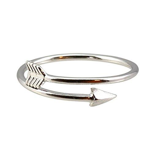 Amesii Women Fashion Golden Silver Tone Adjustable Arrow Open Knuckle Ring Jewelry - Silver
