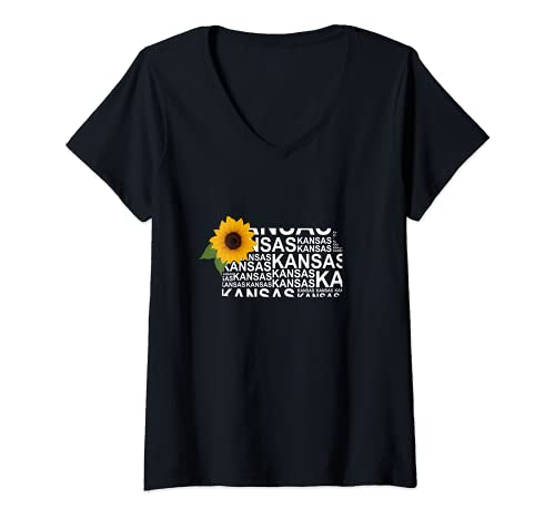 Mujer Kansas Girasol Kansas City Kansas State Pride Camiseta Cuello V