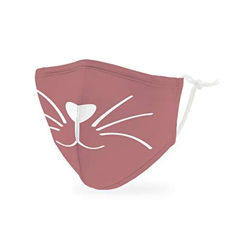 Weddingstar kinder waschbare, Mundschutzmasken aus Stoff. Wiederverwendbar und verstellbar mit Staubfiltertasche - Pinkfarbenes Kätzchen