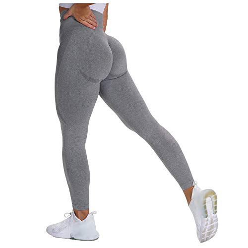 Liably Damen Fitness Hose, eng anliegende Stretch Hip-Up Yoga Hose, Sporthose für Frauen, Lange Leggings, undurchsichtig, Kompressionshose Dunkelgrau Large