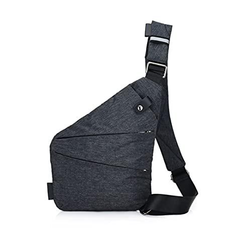 Bandolera Ovecat, cruzada al hombro, por el pecho o la espalda, mochila antirrobo, para hombre y mujer, gris oscuro, small